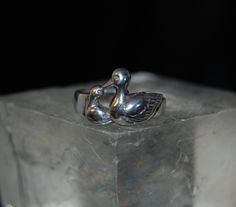 Duck Ring in Vintage Sterling Silver #BKC-KRNG10 by BadKittyCrafts on Etsy
