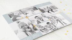 Horizontale Klappkarte 148x105 - Blaugrau Polaroid Film, Design, Photos, Poinsettia, Blue Grey, Christmas Cards, Stars, Weihnachten, Projects