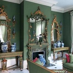 Jonathan Sainsbury (UK) Limited has a worldwide reputation for creating the finest contemporary & traditional furniture and mirrors. Ceiling Paint Colors, Wall Colors, French Decor, French Country Decorating, Furniture Styles, Furniture Design, Renaissance, Colourful Living Room, Green Rooms