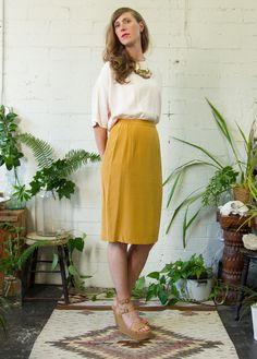 Pale pink dolmen sleeve top  Silk mustard pencil skirt Lyon Falls Summer 2014 Lookbook lyonfalls.com