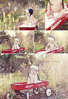 the aviator hat & the radio flyer = precious