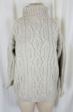0cfd985e75 Vintage LL Bean Wool Cable Knit Turtleneck Sweater Womens M Bulky Oatmeal  White