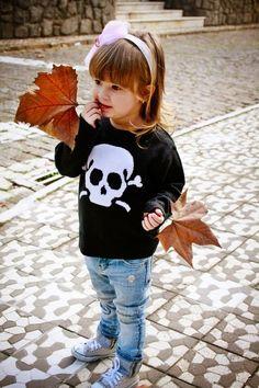 cute little girl / kid / fashion / sweater / fall