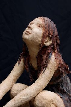 She is either admiring sth or listening to an interesting story :) Paper Mache Sculpture, Sculptures Céramiques, Art Sculpture, Pottery Sculpture, Ceramic Figures, Ceramic Art, 3d Fantasy, Plastic Art, Paperclay