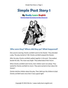Free, printable short story, worksheets, and answer key for the English SIMPLE PAST TENSE. Simply click and print! This is perfect for ESL teachers and students!
