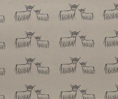 Highland Cow Wallpaper   Slate On Hessian.
