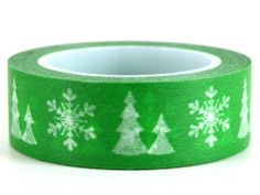 Oh Christmas Tree! – GetWashi.com - Christmas green with snowflakes and trees washi tape.  $1.97