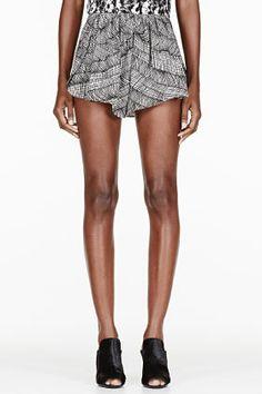 KENZO Black and white crepe printed drape shorts