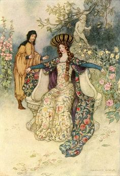 "In Thrall, from ""The Complete Poetical Works of Geoffrey Chaucer"" (1912) Illustrated by Warwick Goble"