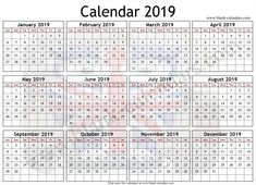 2019 Calendar Excel Download Yearly 2019 Calendar Pinterest