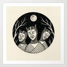 Trio of Narcoleptic Cats Art Print by Jon MacNair - $19.00