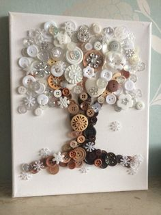 This is a beautiful Button Tree, made with buttons and embellishments on a white canvas. The tree has a winter and snow theme. The canvas is and can be hung on the wall. This item is ready to ship once your order is confirmed. Button Art Projects, Button Crafts, Diy Craft Projects, Crafts To Make, Arts And Crafts, Diy Crafts, Diy Buttons, Crafts With Buttons, Button Art On Canvas