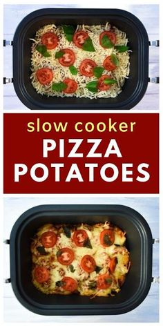 If you do you will love these simple slow cooker pizza potatoes. Minimum effort and maximum taste. Serve them as a side or with garlic bread. Vegan Crockpot Recipes, Vegan Dinner Recipes, Vegan Dinners, Vegan Recipes Easy, Slow Cooker Recipes, Vegetarian Recipes, Cooking Recipes, Vegan Vegetarian, Vegan Pizza
