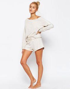 Image 1 ofASOS LOUNGE Oatmeal Marl Jersey Short