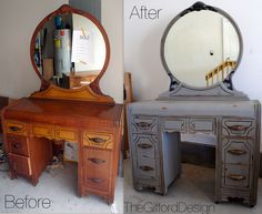 Antique Waterfall Vanity Dresser W Round Mirror And 7 Dovetail