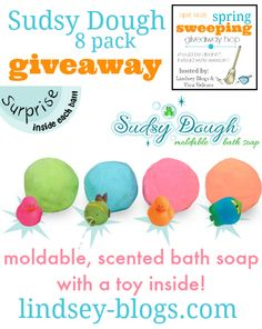 WIN A SUDSY DOUGH FAMILY PACK – THE MOLDABLE BATH SOAP #SPRINGSWEEPING ends 4.28.15