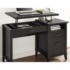 Charlton Home Myles Lift-Top Standing Desk Finish: Espresso Small Home Offices, Small Office, Home Office Desks, Home Office Furniture, Wood Computer Desk, Simple Desk, Big Desk, Grey Desk, Desk Accessories
