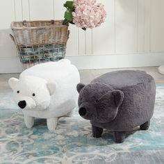 2017 Hot Sale Washable The Polar Bear Foot Wooden Stool Sitting Pier Creative Children Sit Stool Lovely Cartoon Animal Storage