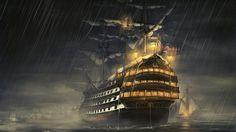 1366x768 Wallpaper ships, sea, light, rain