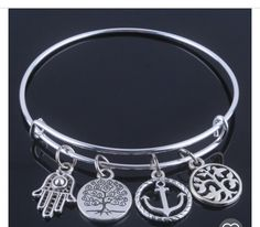 4 charm bangle bracelet by Jcafterhours on Etsy
