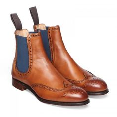 Ladies Cheaney Charlotte Chelsea Brogue Boot in Chestnut Calf