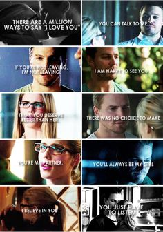 Oliver + Felicity you love each other bwe happy for ever Stephen Amell Arrow, Arrow Oliver, Team Arrow, Arrow Tv, Oliver Queen Felicity Smoak, Arrow Felicity, Avatar Zuko, Teen Wolf Quotes, Dc Tv Shows