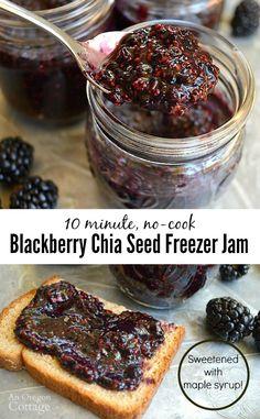Chia Seed No Cook Blackberry Freezer Jam Recipe – Comida: mesas vegetarianas Healthy Eating Tips, Good Healthy Recipes, Whole Food Recipes, Healthy Food, Healthy Blackberry Recipes, Healthy Detox, Skinny Recipes, Healthy Options, Clean Recipes