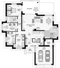 Rzut parteru projektu Rozłożysty Family House Plans, New House Plans, Modern House Plans, House Floor Plans, House Front Design, Small House Design, Cottage Design, Modern House Design, Alfresco Designs