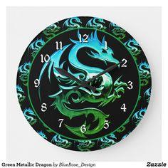 Green Metallic Dragon Large Clock Large Clock, Wall Clocks, Colorful Backgrounds, Metallic, Dragon, Display, Green, Artwork, Prints