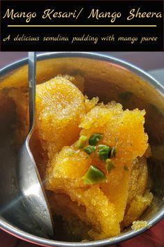 A delicious Indian style semolina pudding with mango puree #mangokesari #kesari #mango Sheera Sweets Recipes, Indian Food Recipes, Healthy Recipes, Ethnic Recipes, Yummy Treats, Delicious Desserts, Semolina Pudding, Mango Pulp, Recipe Community