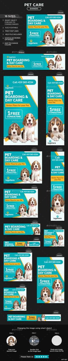 Buy Pet Care Banners by Hyov on GraphicRiver. Promote your Products and services related to Pet Care niche with this great looking Banner Set. Pet Shop, Pet Quotes Cat, Store Design, Web Design, Pet Names For Boyfriend, Banners, Web Banner, Pet Food Storage, Cute Beagles