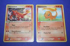 2 Pokemon Cards - Charmander and Charmeleon by LiveLoveCraftDesignz on Etsy Charmander, Pokemon Cards, Lunch Box, Handmade, Stuff To Buy, Etsy, Hand Made, Pokemon Trading Card, Bento Box