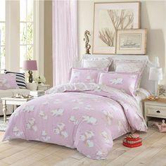 LOVO 新品全棉纯棉四件套件被套床单云曦--粉色-(200*230)  USD $48.99
