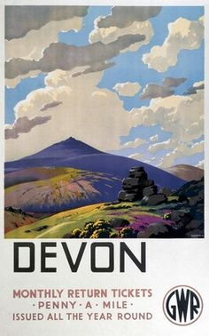 Interesting vintage travel poster showing the Dartmoor landscape. They chose a particularly pointy hill for this poster! Posters Uk, Train Posters, Railway Posters, Poster Prints, Art Print, Vintage Travel Posters, Vintage Postcards, British Travel, Travel Uk