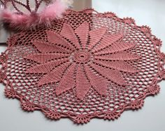 Coral Doily, Crochet doily, Round crochet doily, Handmade doily, crochet lace doily, Crochet table decoration, Crochet item, wedding doily