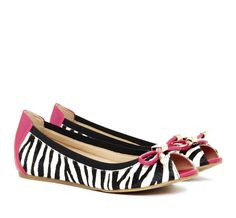 cute zebra peep toe flats with a little bit of pink ☆