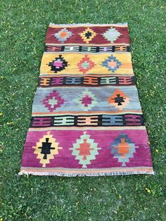 "Home Decor Multicolor Stunning Vintage Turkish Ushak Kilim Rug 3'3""x6'3"" 