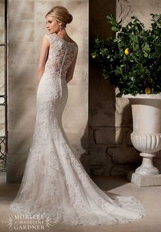 2702 Bridal Gowns / Dresses Embroidered Appliques on Net Over Chantilly Lace with Crystal Beading- Available in Three Lengths: 55 inches, 58 inches, 61 inches