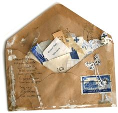 Chocolat et Décembre - collage, mixed media secure envelope on smash book page; decorate; stuff with stubs