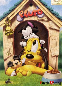 Tenyo Disney Pluto Mickey Mouse and Figaro, cork paper 500 pcs. Disney All Characters Collection - Japanese jigsaw puzzle from Japan.