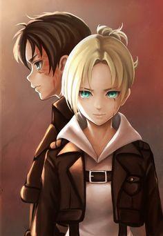 Eren y Annie Attack On Titan Hoodie, Attack On Titan Art, Armin, Mikasa, Eren And Annie, Attack On Titan English, Maou Sama, Annie Leonhart, Satsuriku No Tenshi