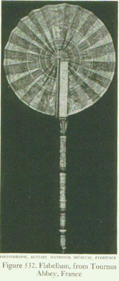 Costuming in the Renaissance: fans. Vellum flabellum folded a la cocarde, IX century.
