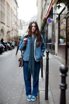 A study in blue and wide legged jeans, my favorite.