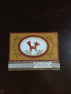 Thank you card. Stampin' Up 2015 Holiday catalogue; Thankful Forest Friends stamp set.