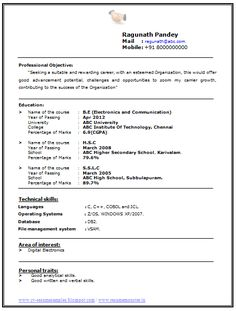 Free Resume Templates   Format Download Sample For Freshers     Template net