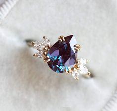 Pear Chatham Alexandrite Engagement Ring - Praise