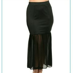 "Plus size black high waist sheer long long skirt Plus size black high waist skirt with sheer mermaid  bottom panel. Upper part is fitted made out of stretchy solid fabric and lower part is made out of sheer fabric. Fabric Content: 50% COTTON 50% POLYESTER Size Scale: 1XL Description: W: 16"" L: 39"" Boutique  Skirts Maxi"