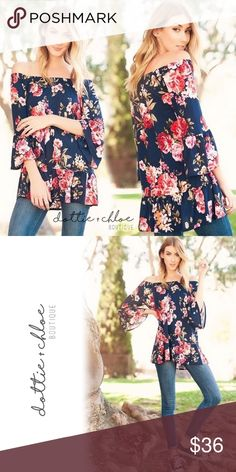"""M & L Left • Floral Off the Shoulder Tunic #682 Gorgeous navy floral off the shoulder tunic. I love pairing girly tops like this with edgier pieces. Looks great with converse and jeans or faux leather leggings and booties.   Measurements: S -   20"""" bust / 27"""" length M -  21"""" bust / 27"""" length L -   22"""" bust / 28"""" length XL - 23"""" bust / 28"""" length  • 95% polyester, 5% spandex • Made in the USA • Pictures 3 & 4 were taken by me and show that this top can be worn on or off the shoulder dottie…"""