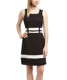 Look at this Black & White Belted Square Neck Dress on #zulily today!