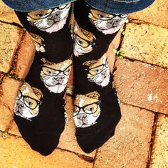 Move over Kittenster, there's a new hipster in town!  Crew length sock with bulldogs rocking some glasses. Available in Black or Seaglass.  Fits women's shoe size 5-10.